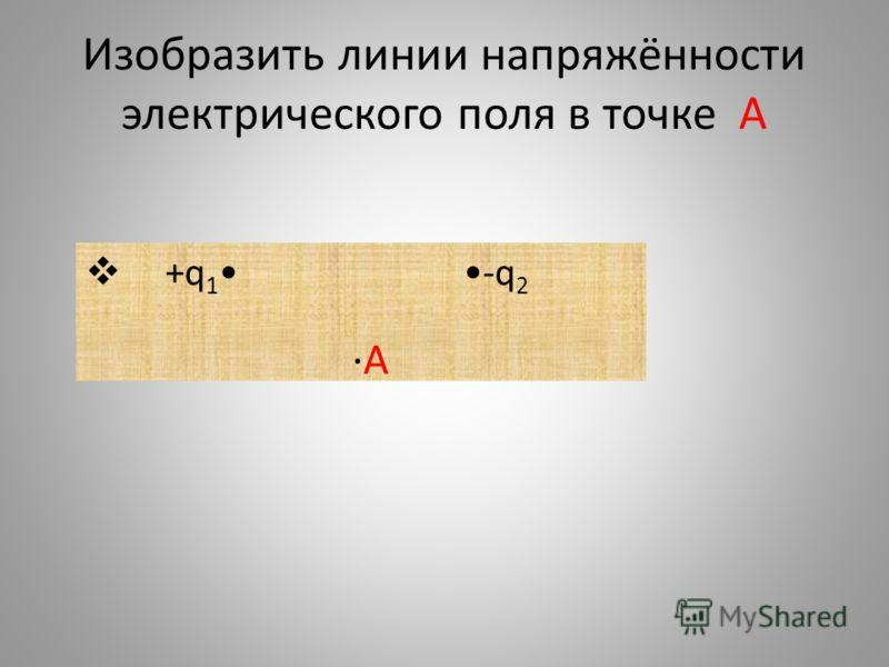Изобразить линии напряжённости электрического поля в точке А +q 1 -q 2 A