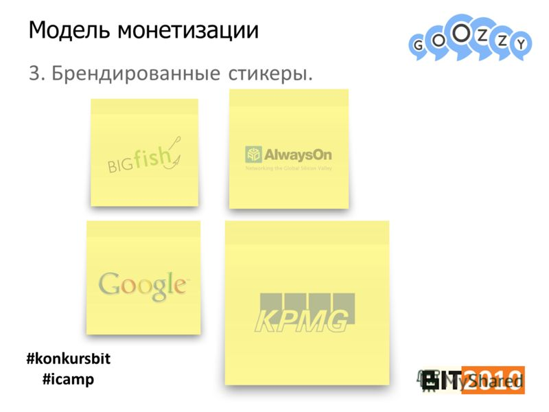 Модель монетизации #konkursbit #icamp 3. Брендированные стикеры.
