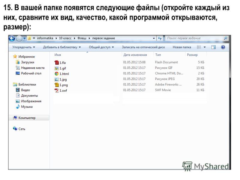 15. В вашей папке появятся следующие файлы (откройте каждый из них, сравните их вид, качество, какой программой открываются, размер):