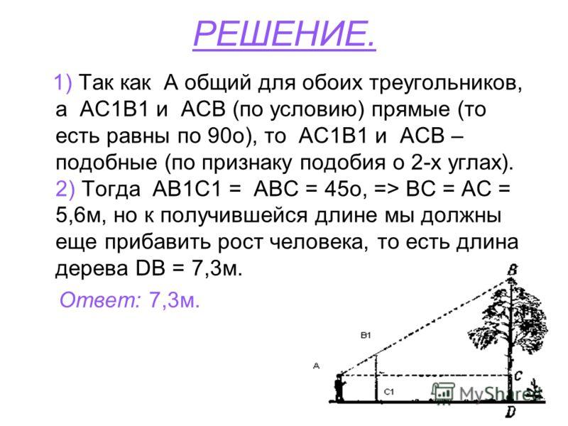 РЕШЕНИЕ. 1) Так как А общий для обоих треугольников, а АС1В1 и АСВ (по условию) прямые (то есть равны по 90о), то АС1В1 и АСВ – подобные (по признаку подобия о 2-х углах). 2) Тогда АВ1C1 = АВС = 45о, => ВС = АС = 5,6м, но к получившейся длине мы долж