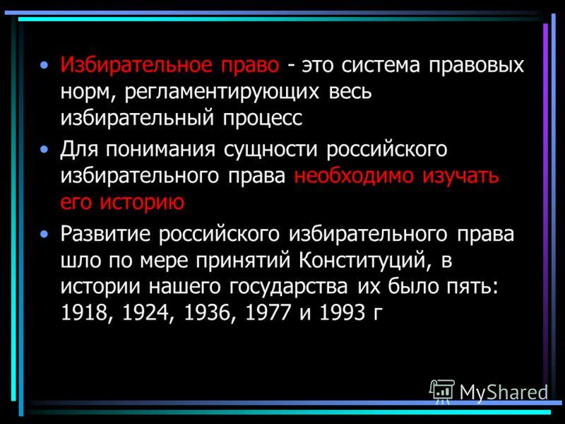 Избирательное право - это система правовых норм, регламентирующих весь избирательный процесс Для понимания сущности российского избирательного права необходимо изучать его историю Развитие российского избирательного права шло по мере принятий Констит