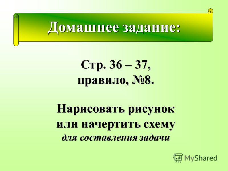 Домашнее задание: Стр. 36 – 37, правило, 8. Нарисовать рисунок или начертить схему для составления задачи