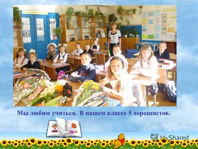 Мы любим учиться. В нашем классе 5 хорошистов.