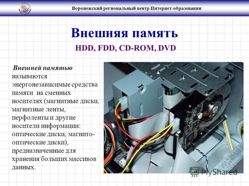 Воронежский региональный центр Интернет-образования Внешняя память Внешней памятью называются энергонезависимые средства памяти на сменных носителях (магнитные диски, магнитные ленты, перфоленты и другие носители информации: оптические диски, магнито