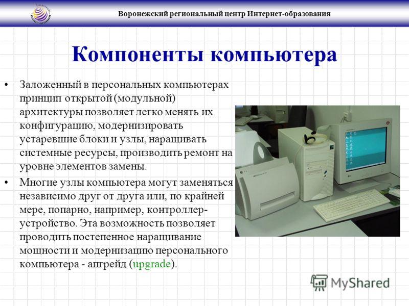 Воронежский региональный центр Интернет-образования Компоненты компьютера Заложенный в персональных компьютерах принцип открытой (модульной) архитектуры позволяет легко менять их конфигурацию, модернизировать устаревшие блоки и узлы, наращивать систе
