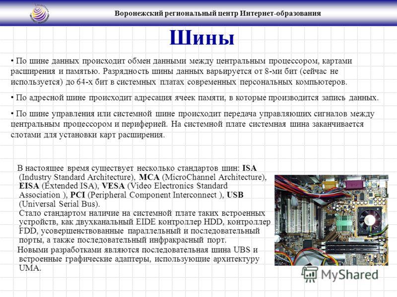 Воронежский региональный центр Интернет-образования Шины В настоящее время существует несколько стандартов шин: ISA (Industry Standard Architecture), МСА (MicroСhannel Architecture), EISA (Extended ISA), VESA (Video Electronics Standard Association )