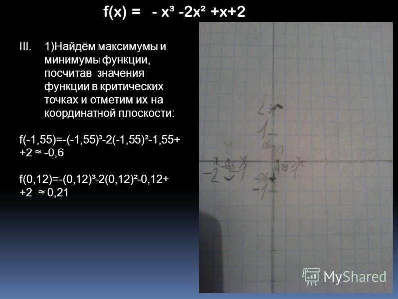 III.1)Найдём максимумы и минимумы функции, посчитав значения функции в критических точках и отметим их на координатной плоскости: f(-1,55)=-(-1,55)³-2(-1,55)²-1,55+ +2 -0,6 f(0,12)=-(0,12)³-2(0,12)²-0,12+ +2 0,21
