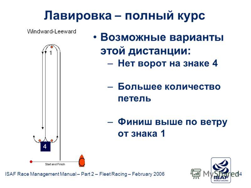 ISAF Race Management Manual – Part 2 – Fleet Racing – February 200614 Лавировка – полный курс Возможные варианты этой дистанции: –Нет ворот на знаке 4 –Большее количество петель –Финиш выше по ветру от знака 1 4