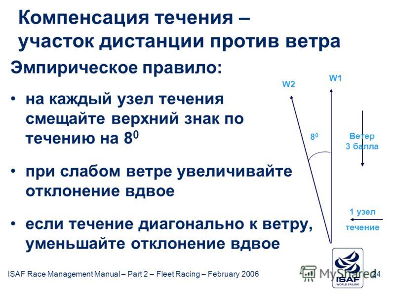 ISAF Race Management Manual – Part 2 – Fleet Racing – February 200624 February 2006ISAF Компенсация течения – участок дистанции против ветра Эмпирическое правило: на каждый узел течения смещайте верхний знак по течению на 8 0 при слабом ветре увеличи