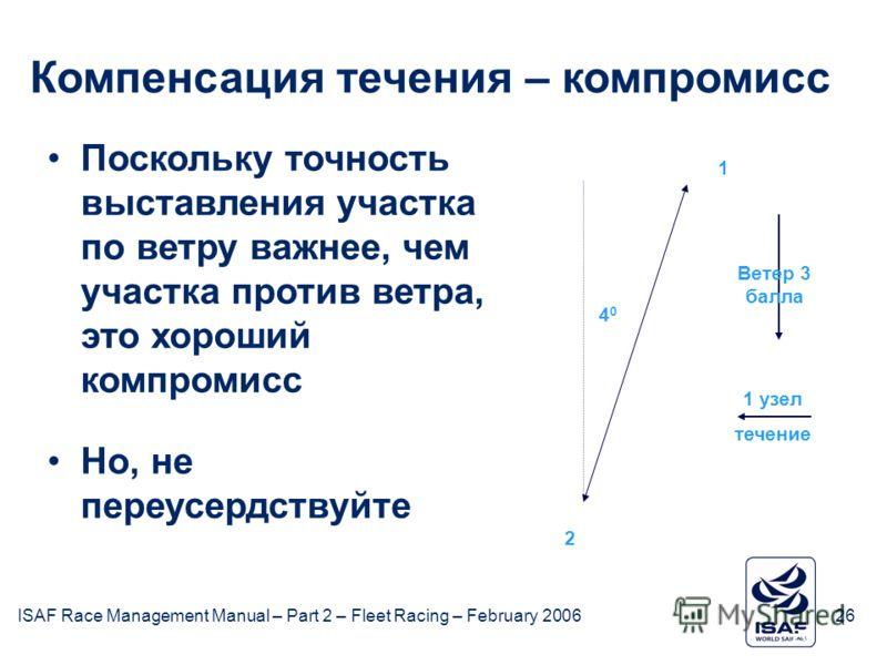 ISAF Race Management Manual – Part 2 – Fleet Racing – February 200626 February 2006ISAF26 Поскольку точность выставления участка по ветру важнее, чем участка против ветра, это хороший компромисс Но, не переусердствуйте 2 Ветер 3 балла 1 узел течение