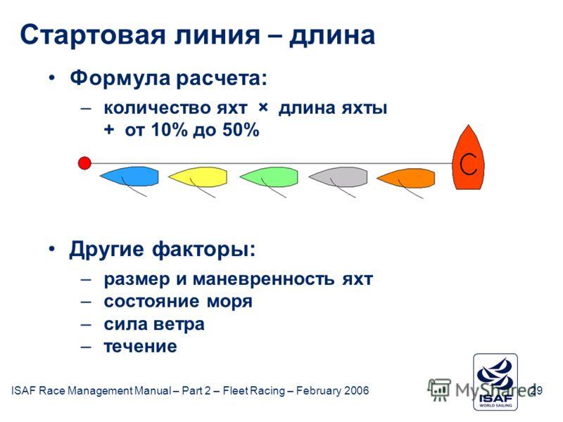 ISAF Race Management Manual – Part 2 – Fleet Racing – February 200629 February 2006 Стартовая линия – длина Формула расчета: –количество яхт × длина яхты + от 10% до 50% Другие факторы: –размер и маневренность яхт –состояние моря –сила ветра –течение