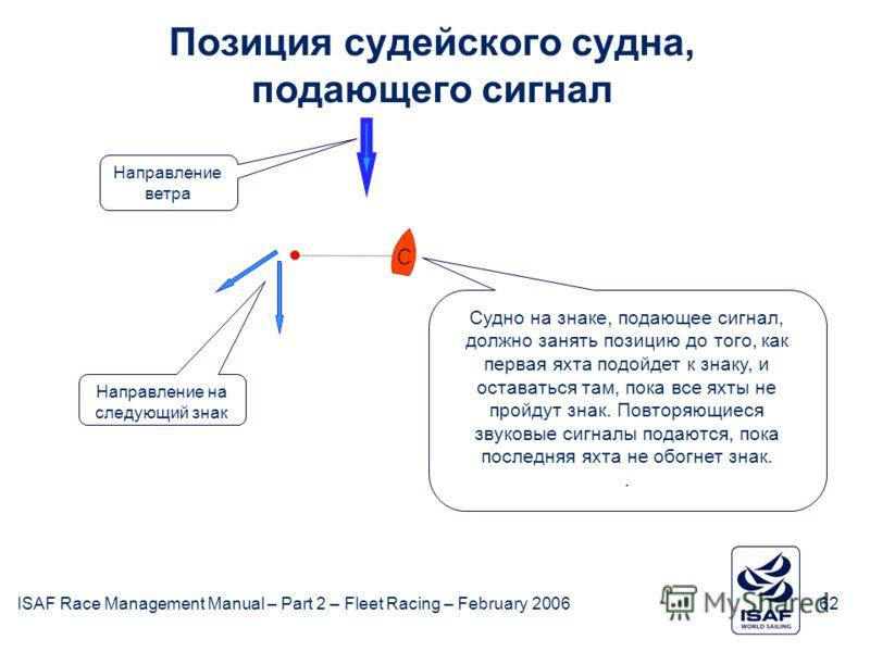 ISAF Race Management Manual – Part 2 – Fleet Racing – February 200662 Позиция судейского судна, подающего сигнал Судно на знаке, подающее сигнал, должно занять позицию до того, как первая яхта подойдет к знаку, и оставаться там, пока все яхты не прой