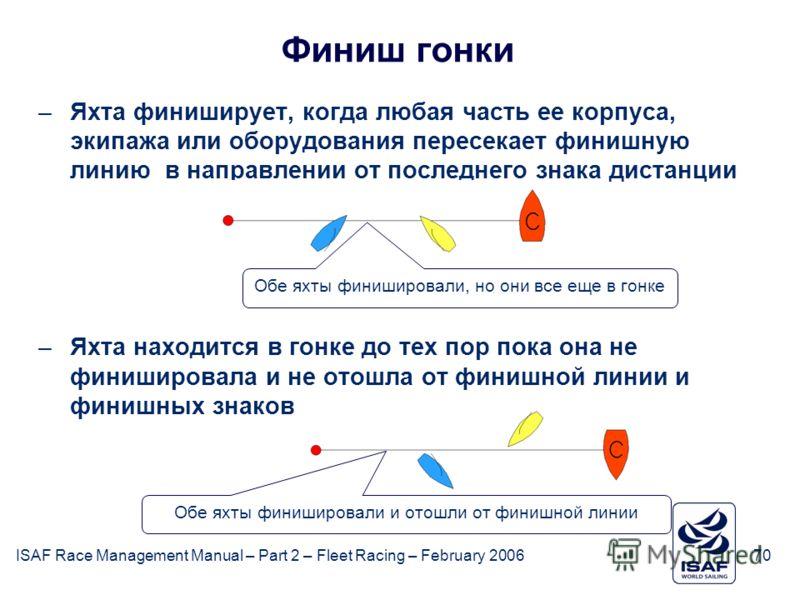 ISAF Race Management Manual – Part 2 – Fleet Racing – February 200670 Финиш гонки –Яхта финиширует, когда любая часть ее корпуса, экипажа или оборудования пересекает финишную линию в направлении от последнего знака дистанции –Яхта находится в гонке д