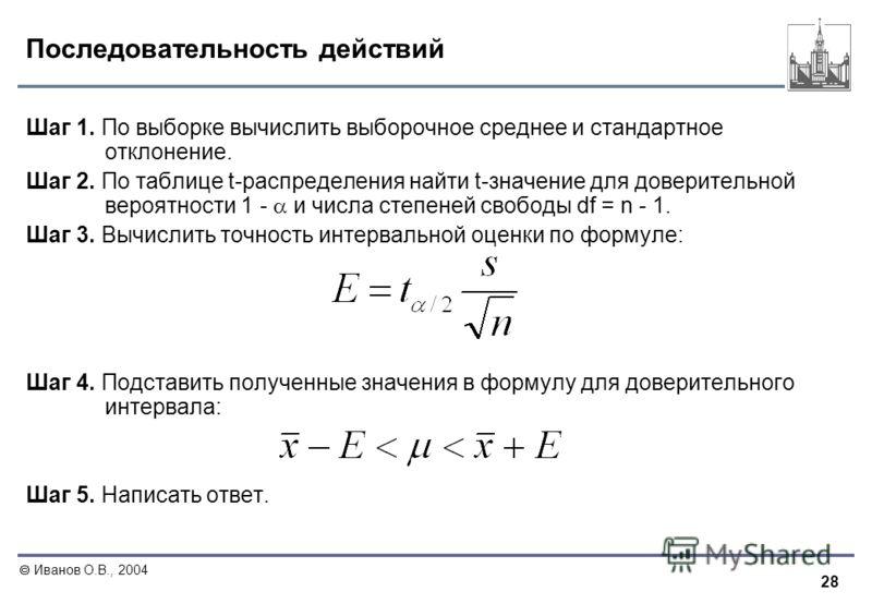 28 Иванов О.В., 2004 Последовательность действий Шаг 1. По выборке вычислить выборочное среднее и стандартное отклонение. Шаг 2. По таблице t-распределения найти t-значение для доверительной вероятности 1 - и числа степеней свободы df = n - 1. Шаг 3.