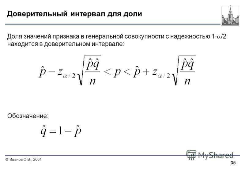35 Иванов О.В., 2004 Доверительный интервал для доли Доля значений признака в генеральной совокупности с надежностью 1- /2 находится в доверительном интервале: Обозначение: