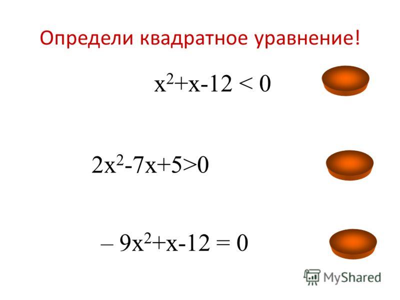 Определи квадратное уравнение! 2х 2 -7х+5>0 4х 2 -4х+1= 0 56 + 12х > 0