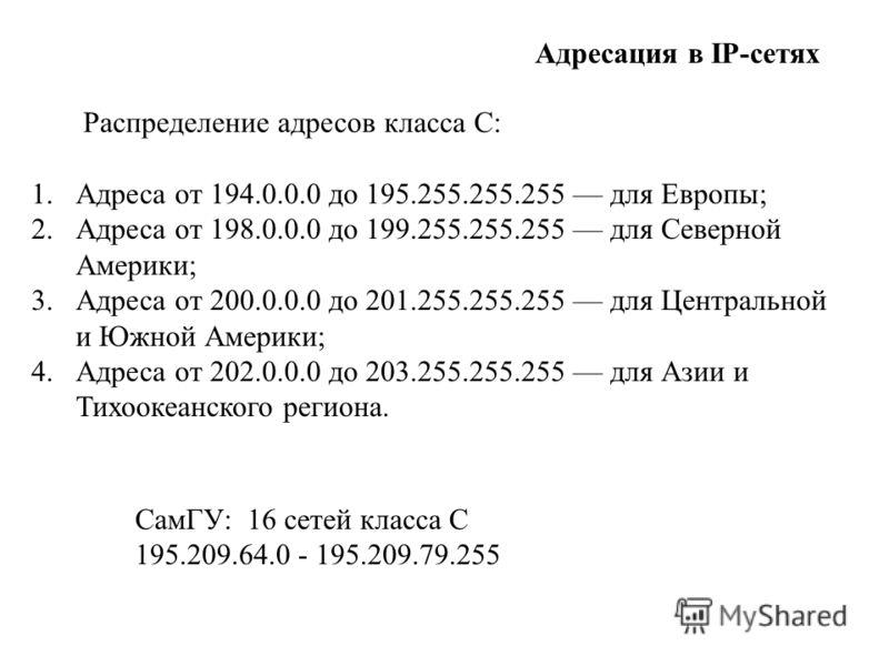 1.Адреса от 194.0.0.0 до 195.255.255.255 для Европы; 2.Адреса от 198.0.0.0 до 199.255.255.255 для Северной Америки; 3.Адреса от 200.0.0.0 до 201.255.255.255 для Центральной и Южной Америки; 4.Адреса от 202.0.0.0 до 203.255.255.255 для Азии и Тихоокеа