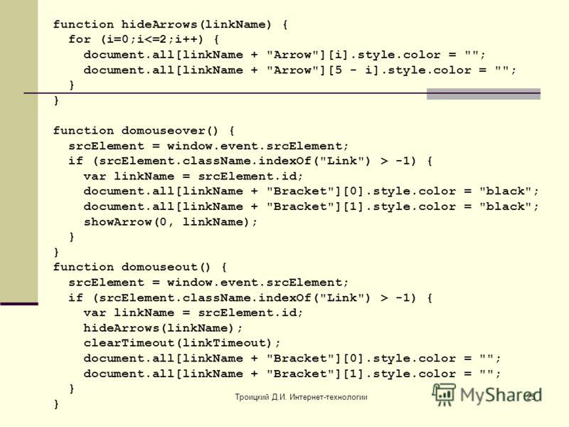 Троицкий Д.И. Интернет-технологии25 function hideArrows(linkName) { for (i=0;i -1) { var linkName = srcElement.id; document.all[linkName +