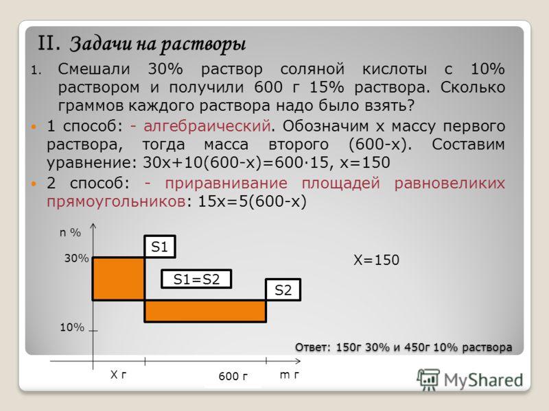 Ответ: 150г 30% и 450г 10% раствора Ответ: 150г 30% и 450г 10% раствора II. Задачи на растворы 1. Смешали 30% раствор соляной кислоты с 10% раствором и получили 600 г 15% раствора. Сколько граммов каждого раствора надо было взять? 1 способ: - алгебра