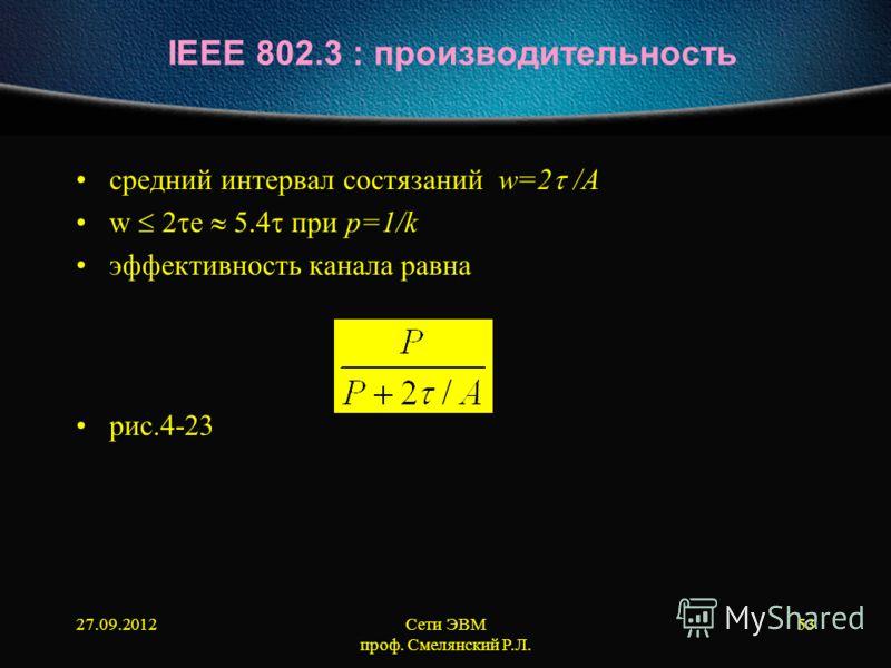 27.09.2012Сети ЭВМ проф. Смелянский Р.Л. 53 IEEE 802.3 : производительность средний интервал состязаний w=2 /А w е 5.4 при p=1/k эффективность канала равна рис.4-23