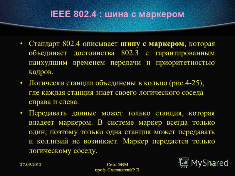 27.09.2012Сети ЭВМ проф. Смелянский Р.Л. 55 IEEE 802.4 : шина с маркером Cтандарт 802.4 описывает шину с маркером, которая объединяет достоинства 802.3 с гарантированным наихудшим временем передачи и приоритетностью кадров. Логически станции объедине