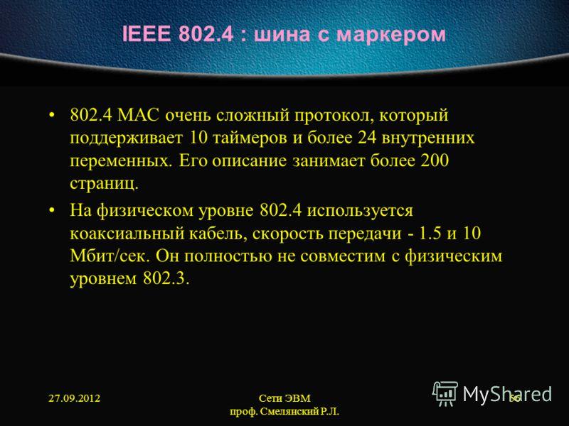 27.09.2012Сети ЭВМ проф. Смелянский Р.Л. 56 IEEE 802.4 : шина с маркером 802.4 МАС очень сложный протокол, который поддерживает 10 таймеров и более 24 внутренних переменных. Его описание занимает более 200 страниц. На физическом уровне 802.4 использу