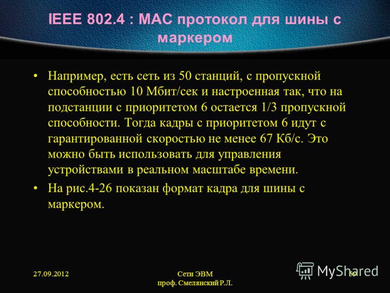 27.09.2012Сети ЭВМ проф. Смелянский Р.Л. 59 IEEE 802.4 : МАС протокол для шины с маркером Например, есть сеть из 50 станций, с пропускной способностью 10 Мбит/сек и настроенная так, что на подстанции с приоритетом 6 остается 1/3 пропускной способност