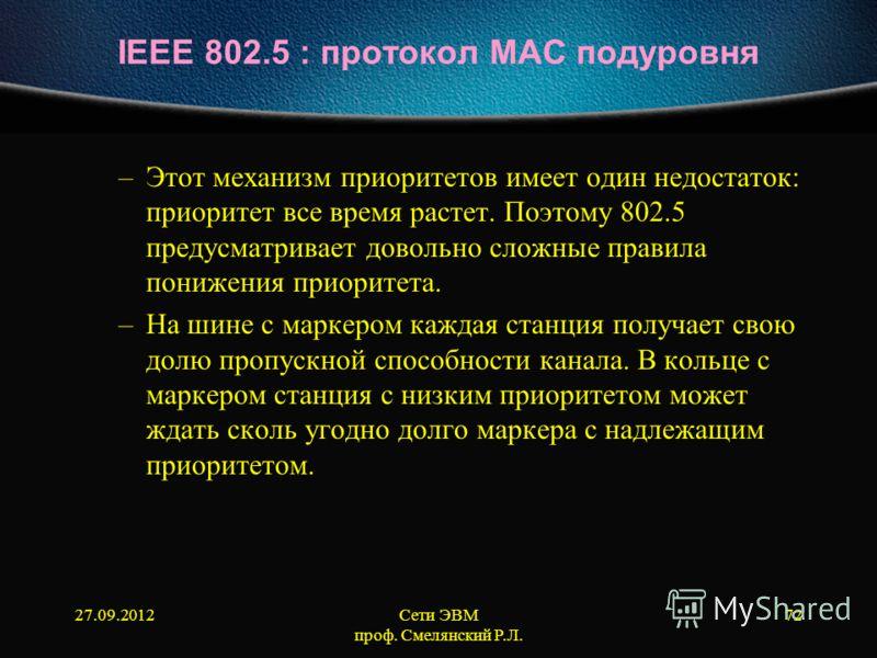 27.09.2012Сети ЭВМ проф. Смелянский Р.Л. 72 IEEE 802.5 : протокол МАС подуровня –Этот механизм приоритетов имеет один недостаток: приоритет все время растет. Поэтому 802.5 предусматривает довольно сложные правила понижения приоритета. –На шине с марк