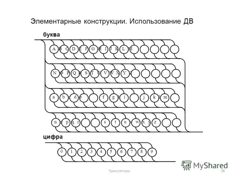 Элементарные конструкции. Использование ДВ буква A B C D E F G H I J K L M N O P Q R S T U V W X Y Z ab c d efg h ijk l m n o p q rstu v w x y z цифра 0 123456789 38Трансляторы