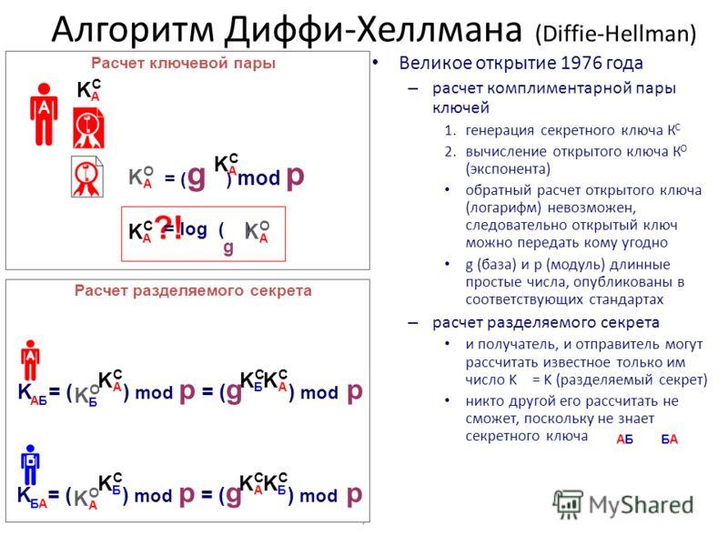 7 Алгоритм Диффи-Хеллмана (Diffie-Hellman) Великое открытие 1976 года – расчет комплиментарной пары ключей 1.генерация секретного ключа К С 2.вычисление открытого ключа К О (экспонента) обратный расчет открытого ключа (логарифм) невозможен, следовате