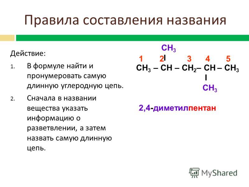 Действие : 1. В формуле найти и пронумеровать самую длинную углеродную цепь. 2. Сначала в названии вещества указать информацию о разветвлении, а затем назвать самую длинную цепь. СН 3 I СН 3 – СН – СН 2 – СН – СН 3 I СН 3 2,4-диметилпентан 1 2 3 4 5
