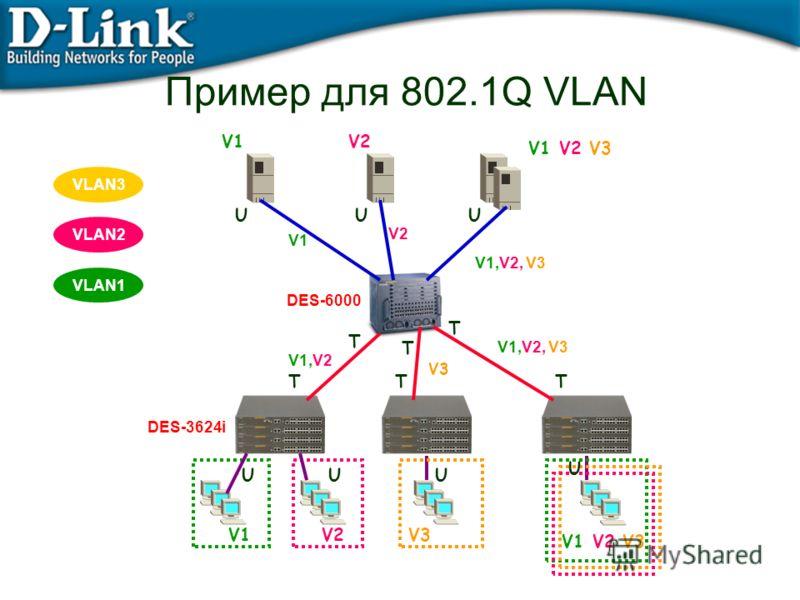 Пример для 802.1Q VLAN V3 U VLAN3 VLAN2 VLAN1 DES-3624i V1,V2 V1,V2, V3 DES-6000 V1V2V3 V1 V2 V3 V1V2 V1 V2 V3 TTT T T T UU UU U U V1 V2 V1,V2, V3