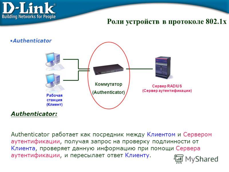 Authenticator Authenticator: Authenticator работает как посредник между Клиентом и Сервером аутентификации, получая запрос на проверку подлинности от Клиента, проверяет данную информацию при помощи Сервера аутентификации, и пересылает ответ Клиенту.