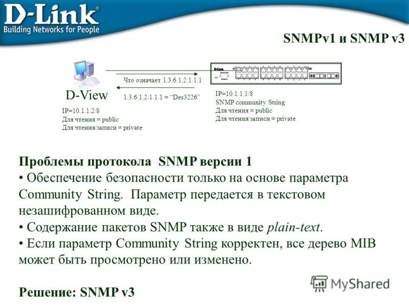 SNMPv1 и SNMP v3 Проблемы протокола SNMP версии 1 Обеспечение безопасности только на основе параметра Community String. Параметр передается в текстовом незашифрованном виде. Содержание пакетов SNMP также в виде plain-text. Если параметр Community Str