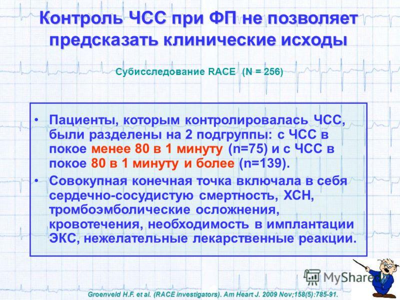 Контроль ЧСС при ФП не позволяет предсказать клинические исходы Субисследование RACE (N = 256) Groenveld H.F. et al. (RACE investigators). Am Heart J. 2009 Nov;158(5):785-91. Пациенты, которым контролировалась ЧСС, были разделены на 2 подгруппы: с ЧС