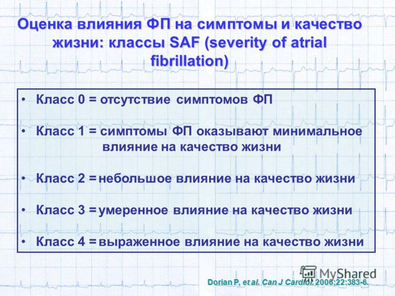Класс 0 = отсутствие симптомов ФП Класс 1 = симптомы ФП оказывают минимальное влияние на качество жизни Класс 2 =небольшое влияние на качество жизни Класс 3 =умеренное влияние на качество жизни Класс 4 =выраженное влияние на качество жизни Dorian P,