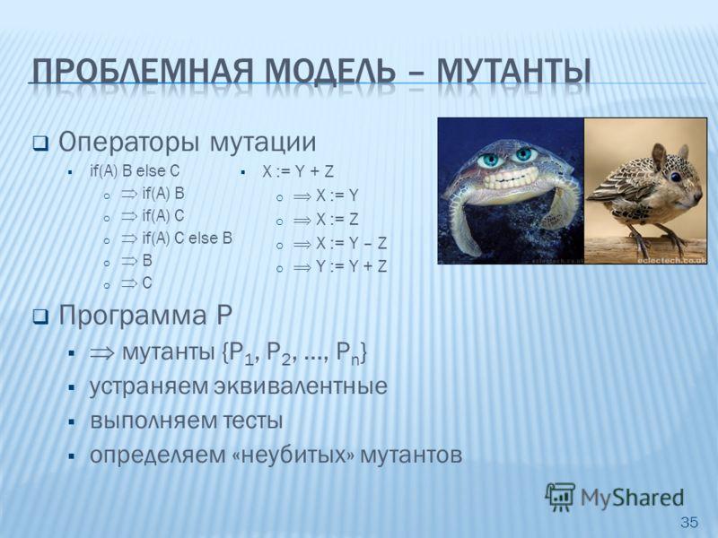 Операторы мутации if(A) B else C o if(A) B o if(A) C o if(A) C else B o B o C Программа P мутанты {P 1, P 2, …, P n } устраняем эквивалентные выполняем тесты определяем «неубитых» мутантов 35 X := Y + Z o X := Y o X := Z o X := Y – Z o Y := Y + Z