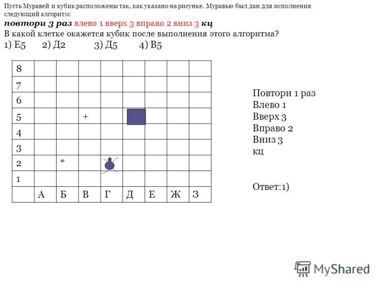 8 7 6 5+ 4 3 2* 1 АБВГДЕЖЗ Повтори 1 раз Влево 1 Вверх 3 Вправо 2 Вниз 3 кц Ответ:1) Пусть Муравей и кубик расположены так, как указано на рисунке. Муравью был дан для исполнения следующий алгоритм: повтори 3 раз влево 1 вверх 3 вправо 2 вниз 3 кц В