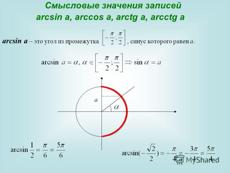 Смысловые значения записей arcsin a, arccos a, arctg a, arcctg a аrcsin a – это угол из промежутка, синус которого равен а. а