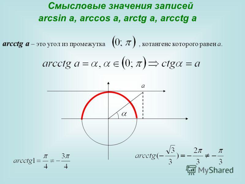 Смысловые значения записей arcsin a, arccos a, arctg a, arcctg a аrcсtg a – это угол из промежутка, котангенс которого равен а. а