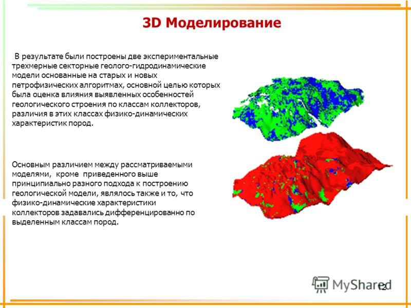 12 3D Моделирование В результате были построены две экспериментальные трехмерные секторные геолого-гидродинамические модели основанные на старых и новых петрофизических алгоритмах, основной целью которых была оценка влияния выявленных особенностей ге