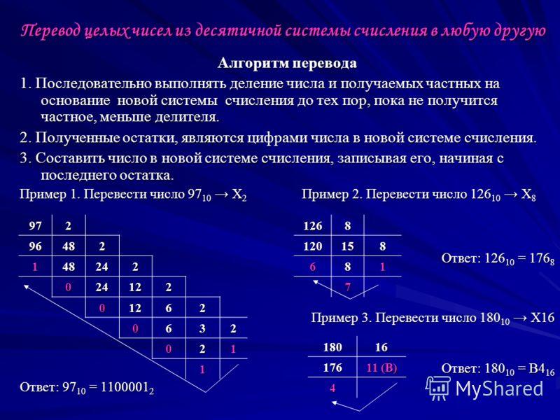 Перевод целых чисел из десятичной системы счисления в любую другую Алгоритм перевода 1. Последовательно выполнять деление числа и получаемых частных на основание новой системы счисления до тех пор, пока не получится частное, меньше делителя. 2. Получ
