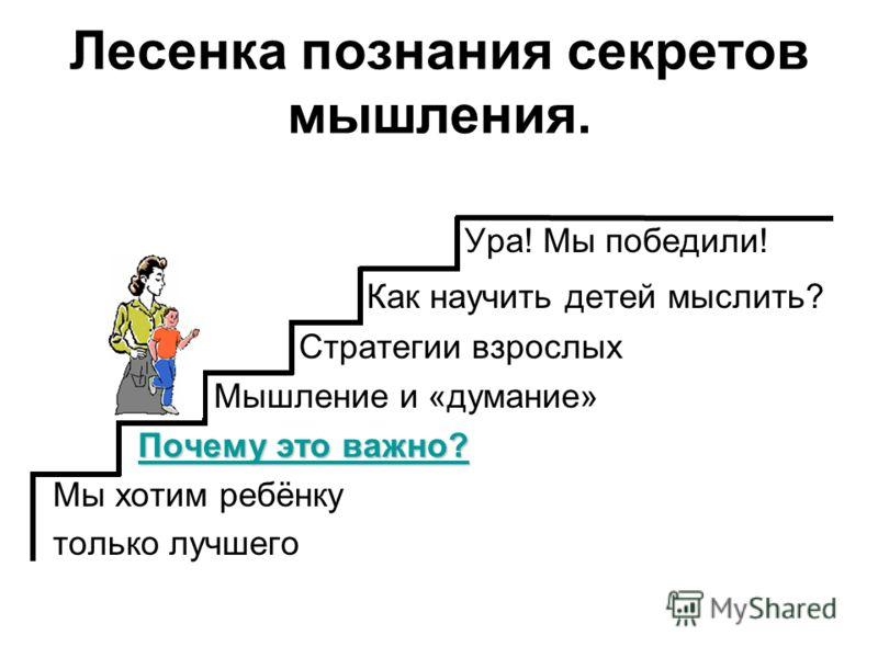 Лесенка познания секретов мышления. Ура! Мы победили! Как научить детей мыслить? Стратегии взрослых Мышление и «думание» Почему это важно? Почему это важно? Почему это важно? Мы хотим ребёнку только лучшего