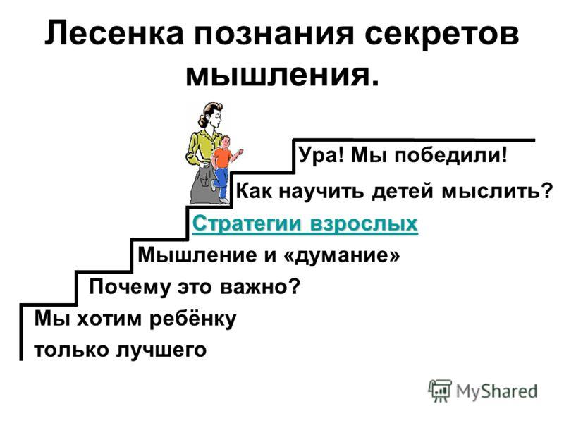 Лесенка познания секретов мышления. Ура! Мы победили! Как научить детей мыслить? Стратегии взрослых Стратегии взрослых Стратегии взрослых Мышление и «думание» Почему это важно? Мы хотим ребёнку только лучшего
