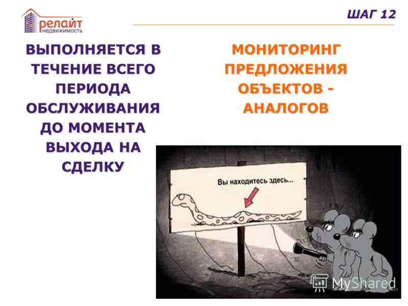 25 ШАГ 12 ВЫПОЛНЯЕТСЯ В ТЕЧЕНИЕ ВСЕГО ПЕРИОДА ОБСЛУЖИВАНИЯ ДО МОМЕНТА ВЫХОДА НА СДЕЛКУ МОНИТОРИНГ ПРЕДЛОЖЕНИЯ ОБЪЕКТОВ - АНАЛОГОВ
