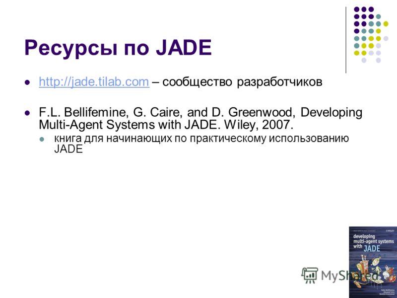 Ресурсы по JADE http://jade.tilab.com – сообщество разработчиков http://jade.tilab.com F.L. Bellifemine, G. Caire, and D. Greenwood, Developing Multi-Agent Systems with JADE. Wiley, 2007. книга для начинающих по практическому использованию JADE