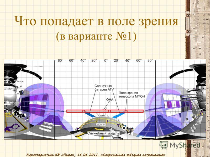 Характеристики КЭ «Лира», 16.06.2011. «Современная звёздная астрономия» Что попадает в поле зрения (в варианте 1)