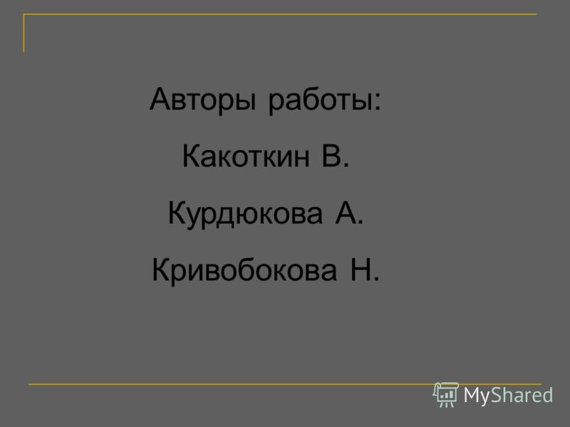 Авторы работы: Какоткин В. Курдюкова А. Кривобокова Н.