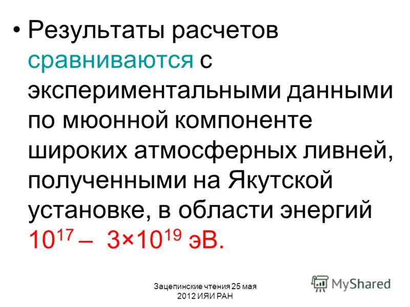 Зацепинские чтения 25 мая 2012 ИЯИ РАН Результаты расчетов сравниваются с экспериментальными данными по мюонной компоненте широких атмосферных ливней, полученными на Якутской установке, в области энергий 10 17 – 3×10 19 эВ.