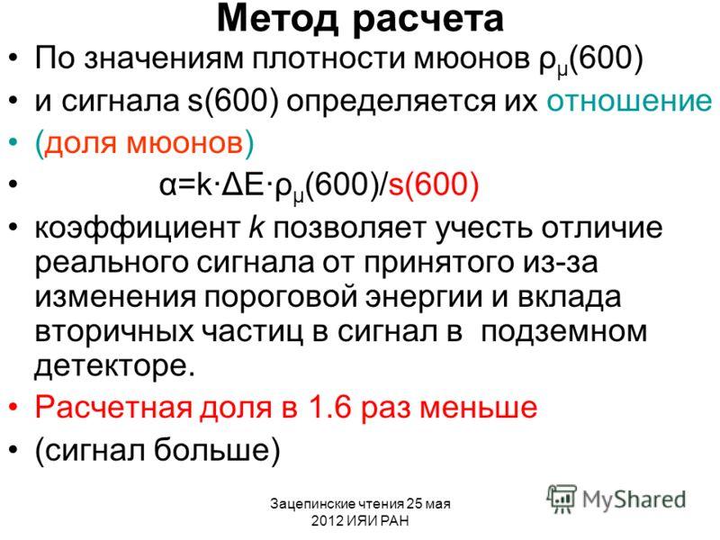 Зацепинские чтения 25 мая 2012 ИЯИ РАН Метод расчета По значениям плотности мюонов ρ μ (600) и сигнала s(600) определяется их отношение (доля мюонов) α=kΔEρ μ (600)/s(600) коэффициент k позволяет учесть отличие реального сигнала от принятого из-за из